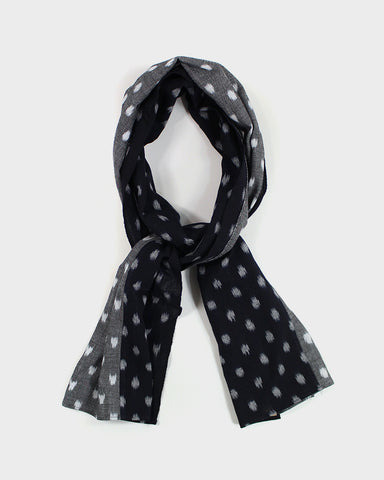 Double Split Scarf, Navy and Grey Kasuri Dot