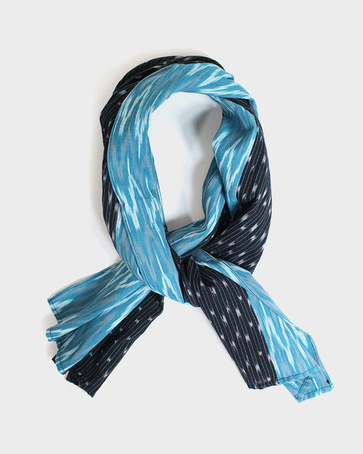 Double Split Scarf, Teal, Black and Grey Shima with White Specks, Indian Kasuri