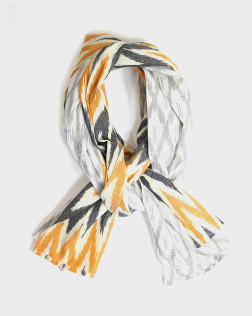 Double Split Scarf, Oatmeal, and Orange and Grey, Indian Kasuri