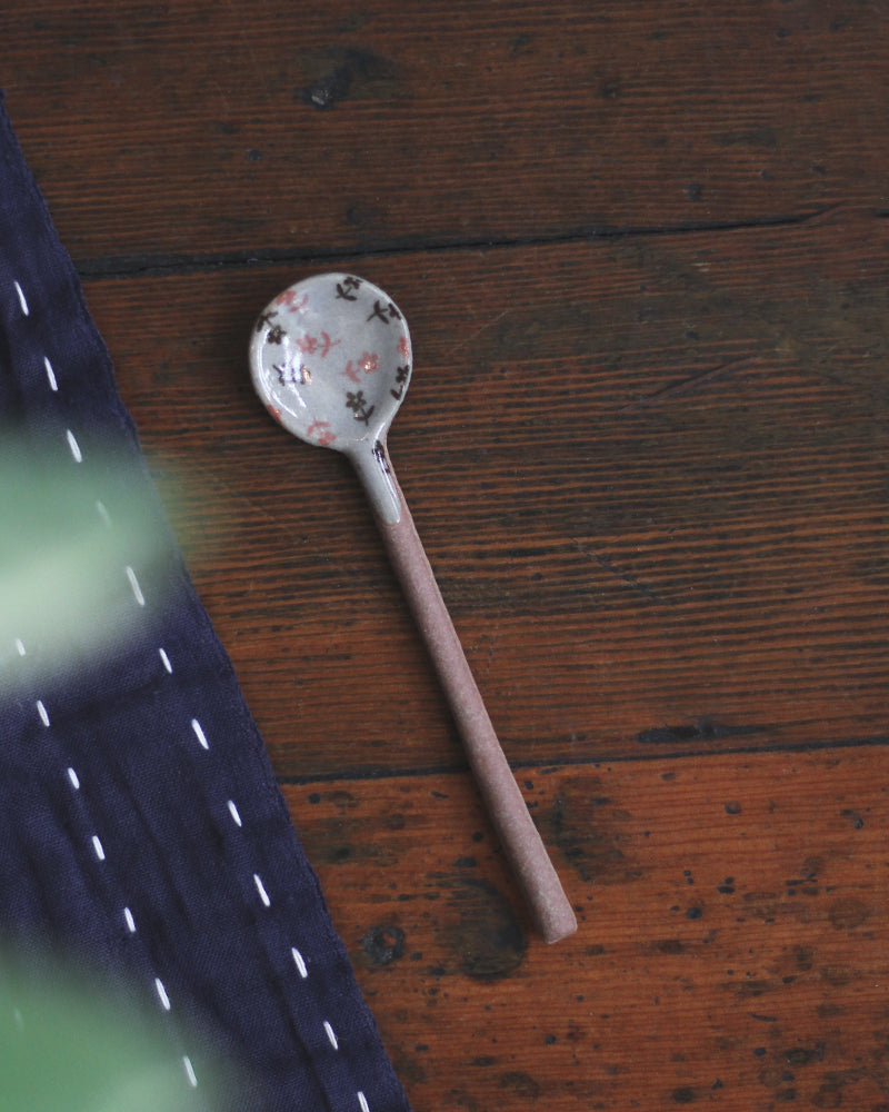 Mashiko-Yaki Hand-Painted Spoon, Pink & Brown Floral
