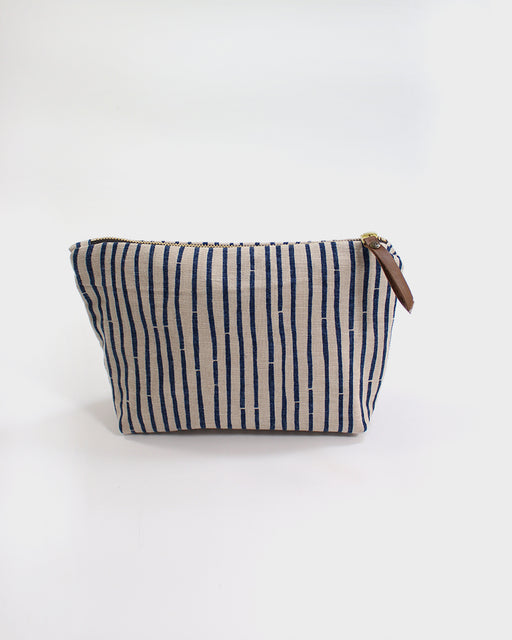 Stand-up Pouch, Indigo Bamboo Shima White