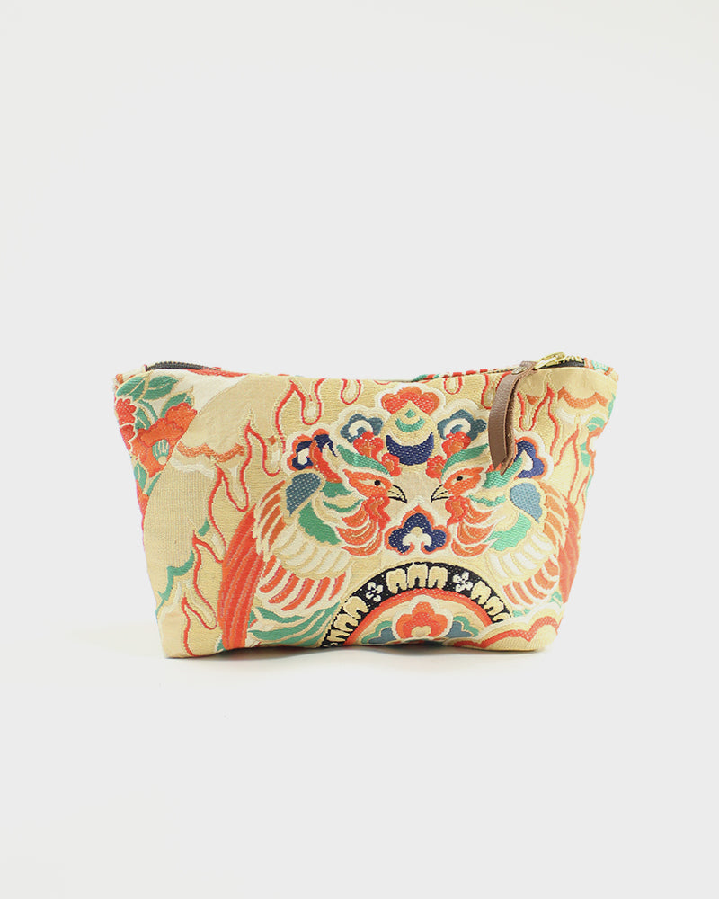 Stand-Up Obi Pouch, Gold and Orange, Birds
