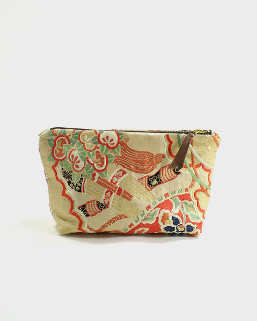 Stand-Up Obi Pouch, Gold and Orange, Floral Rope