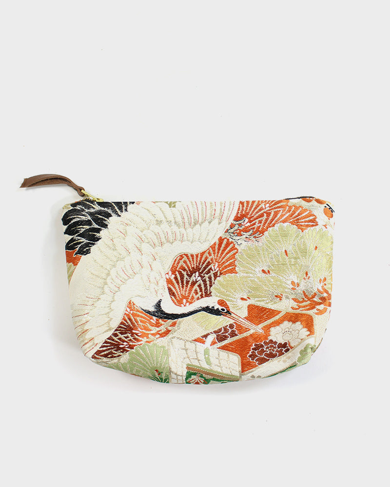 Stand-Up Obi Pouch, Gold and Orange, Kiku and Crane