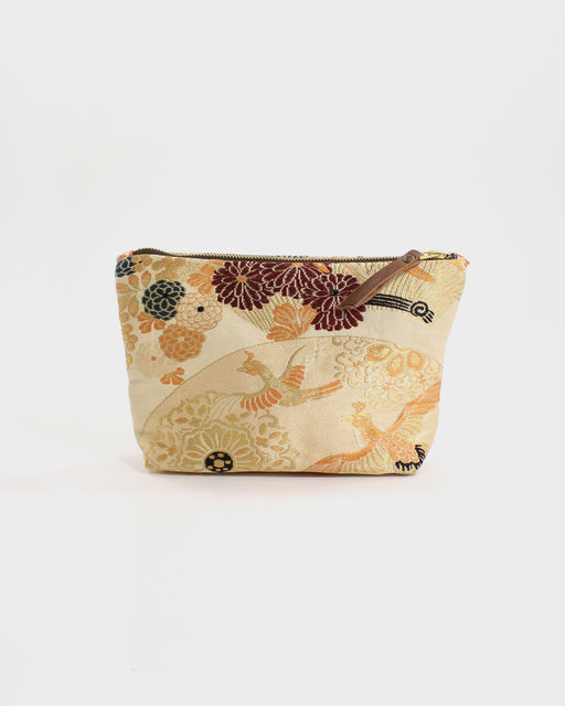 Stand-Up Obi Pouch, Gold, Silver Kiku and Birds