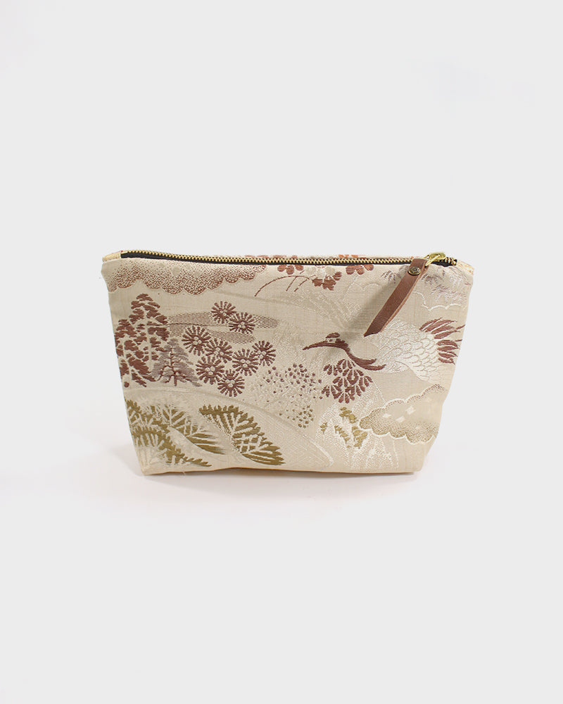 Stand-Up Obi Pouch, Silver and Brown Crane