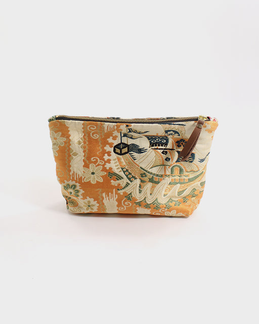 Stand-Up Obi Pouch, Silver, Orange and Green Boat