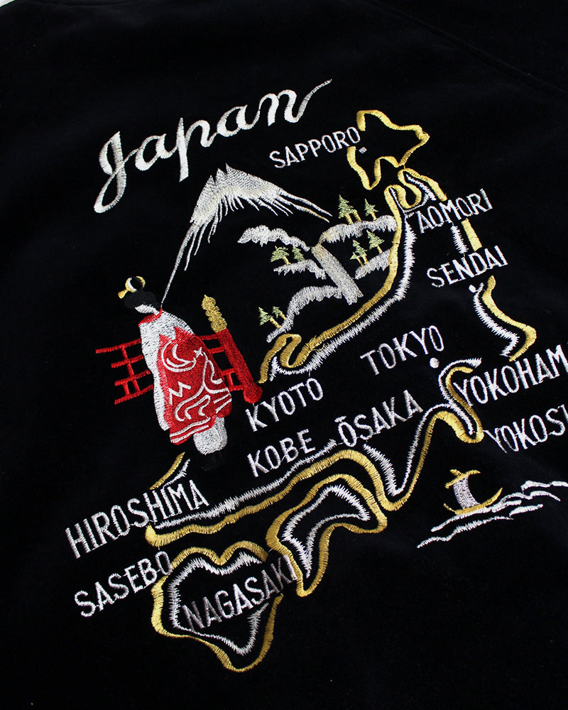 Vintage Japanese Sukajan, Black Velvet & White Dragon