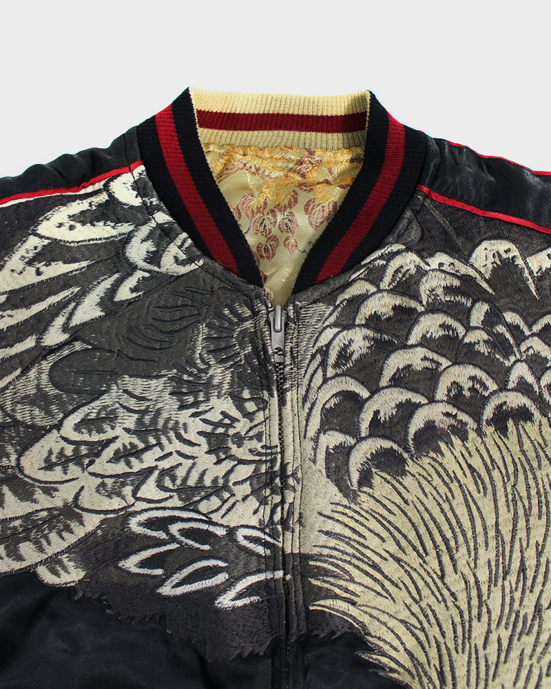 Vintage Japanese Reversible Sukajan, Hawk and Mt. Fuji