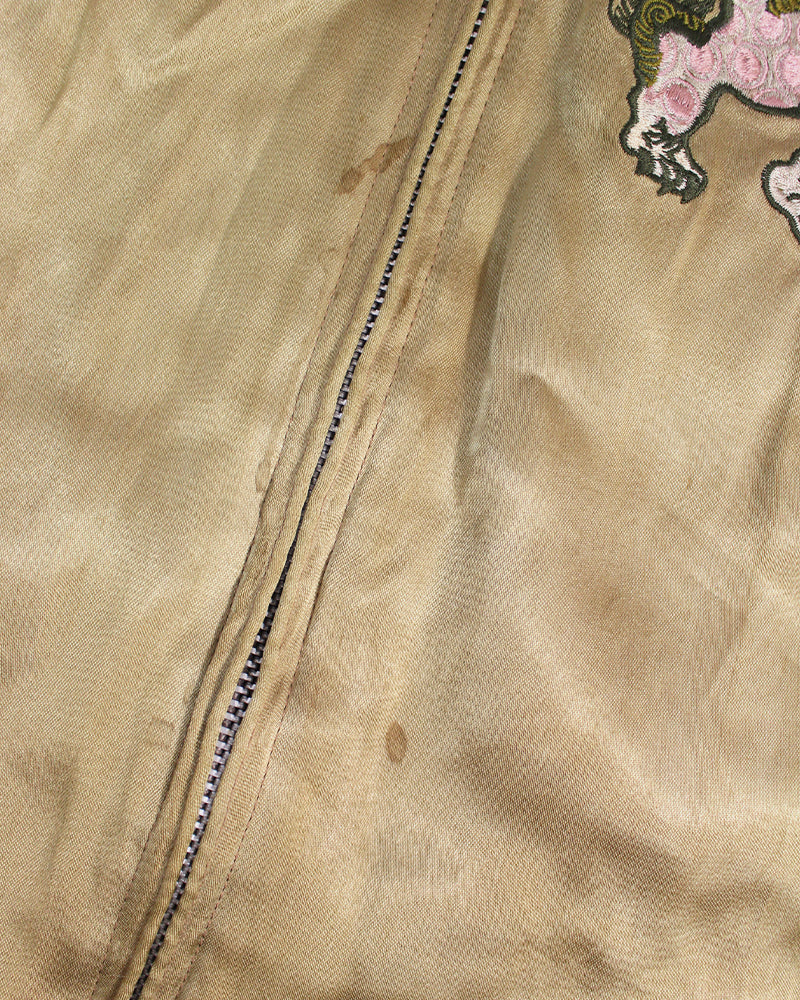 Vintage Japanese Reversible Sukajan, Rose Gold, Kiku and Shi-Shi