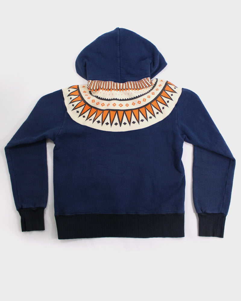 Flathead Hoodie, Indigo with Orange and Cream (M)