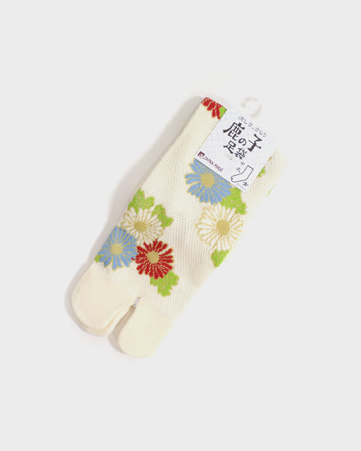 Tabi Socks, Cream with Red and Blue Kiku  (S/M)