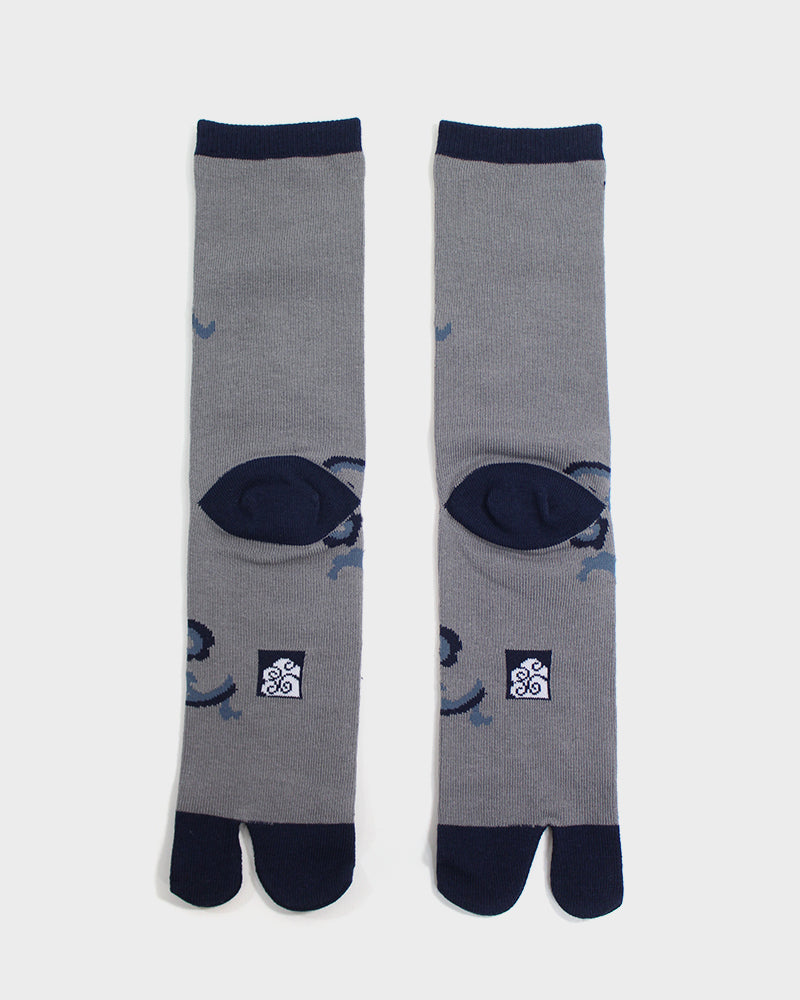 Tabi Socks, Grey, Black and Blue Karakusa (M/L)