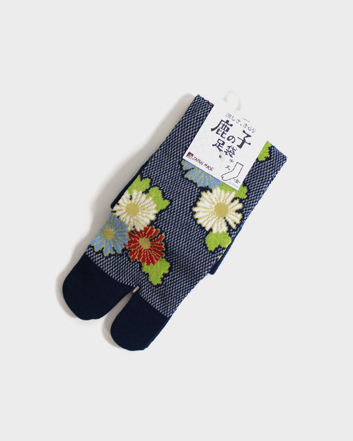 Tabi Socks, Navy with Red and Blue Kiku  (S/M)