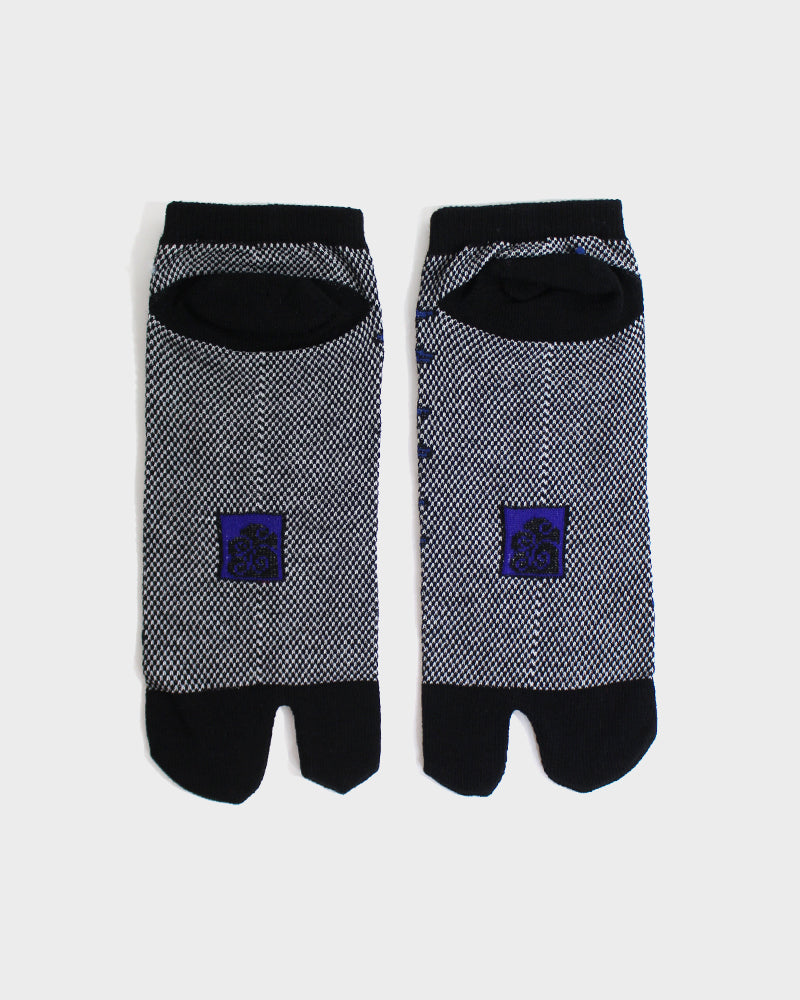 Tabi Ankle Socks, Black With Blue Swallow (M/L)