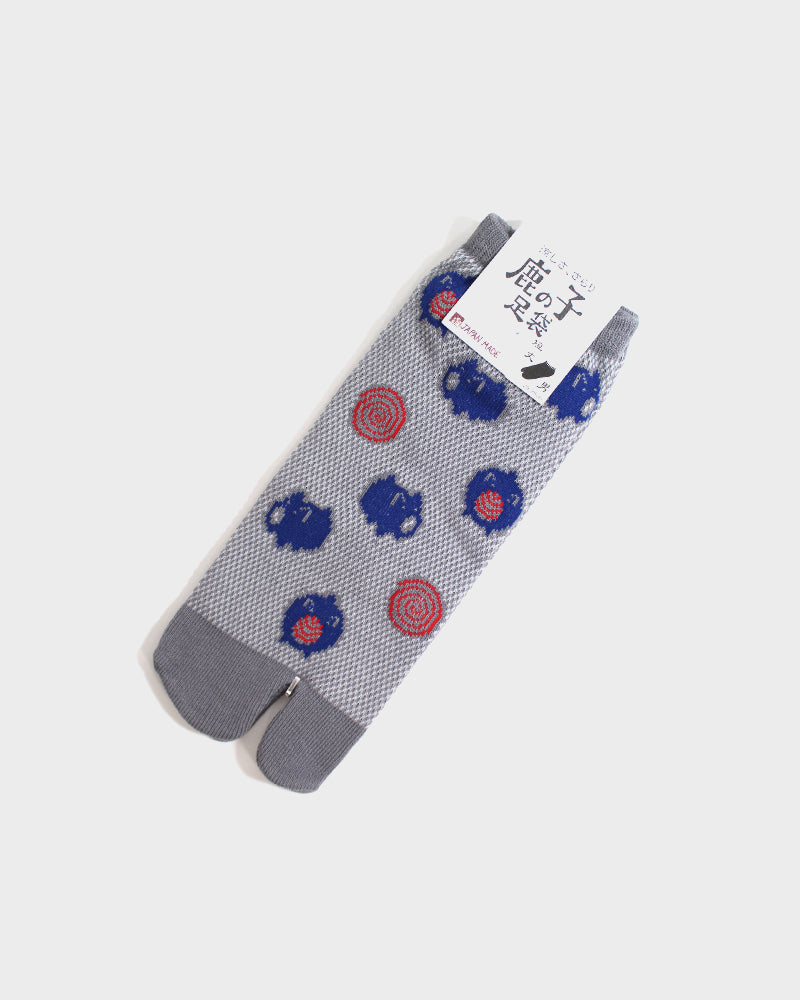 Tabi Ankle Socks, Grey With Blue Pig (M/L)