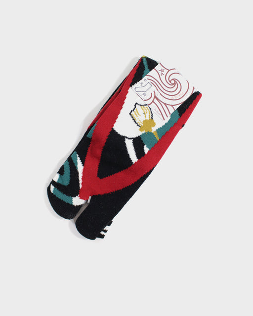 Tabi Socks, Black, Red  & White Tsubaki (S/M)
