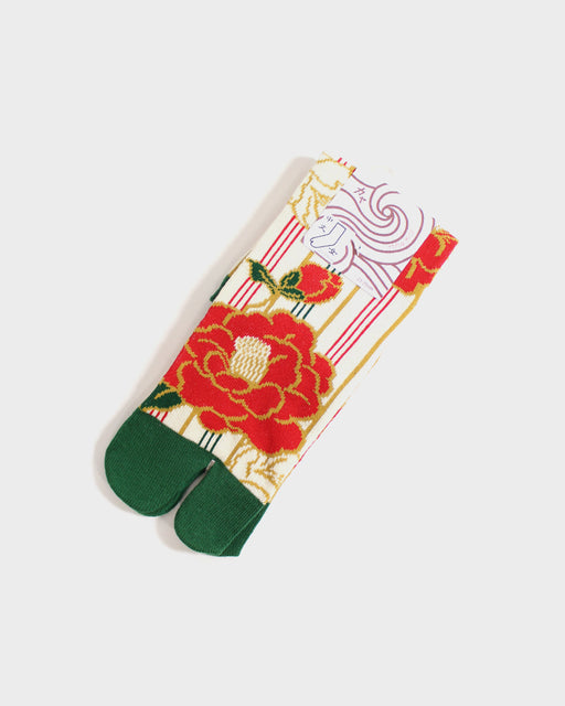 Tabi Socks, Cream, Green & Red Tsubaki (S/M)