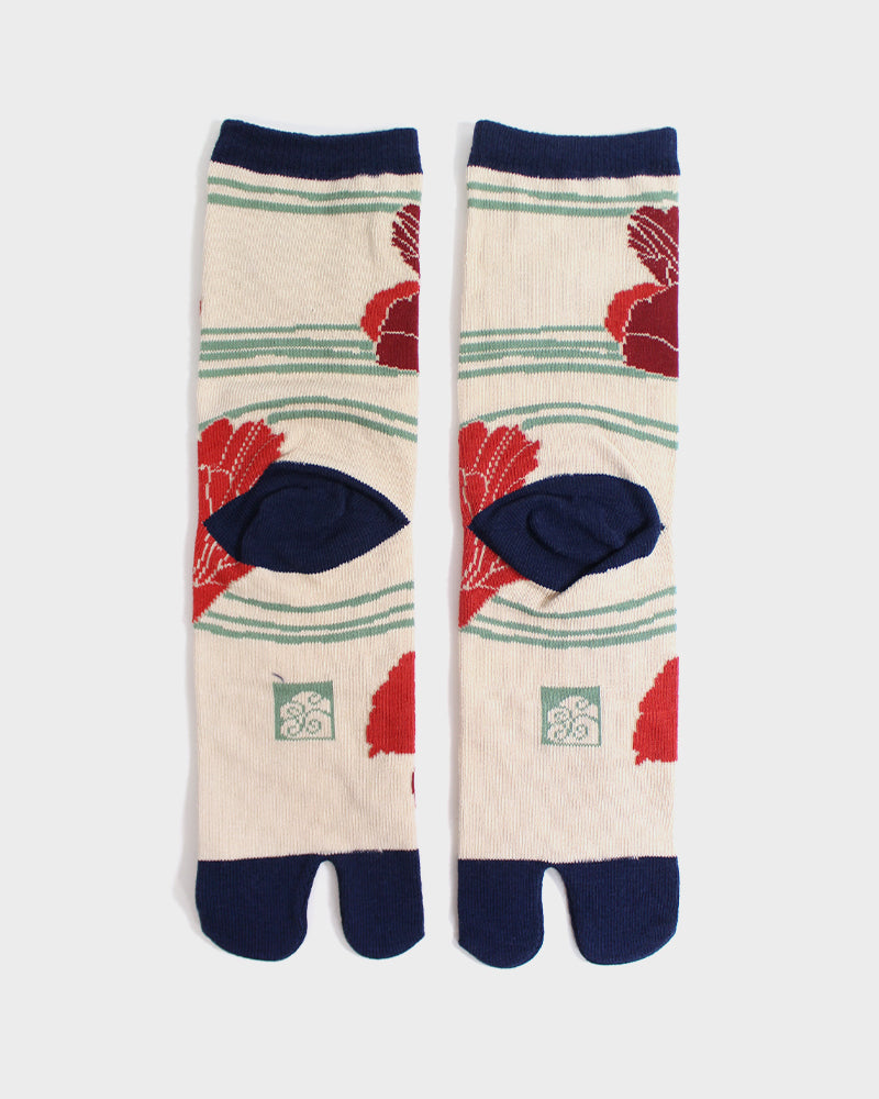 Tabi Socks, Cream, Navy & Red Keshi (S/M)