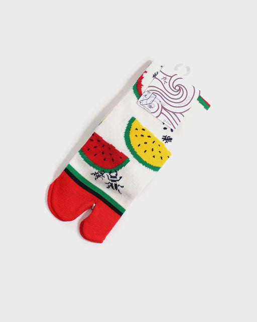 Tabi Socks, Red & Yellow Watermelon with Red Toe (S/M)