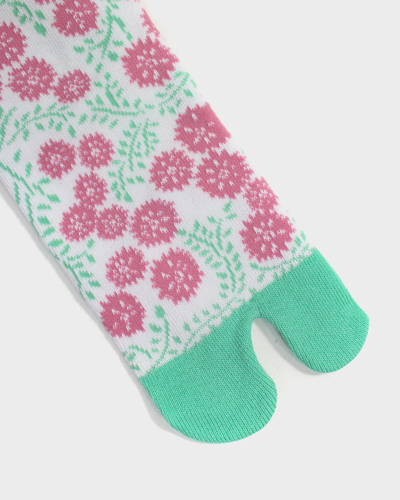 Tabi Socks, Pink and Teal, Clover Flower  (S/M)