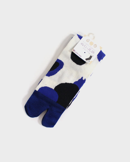 Tabi Socks, White Blue & Black Dots (M/L)