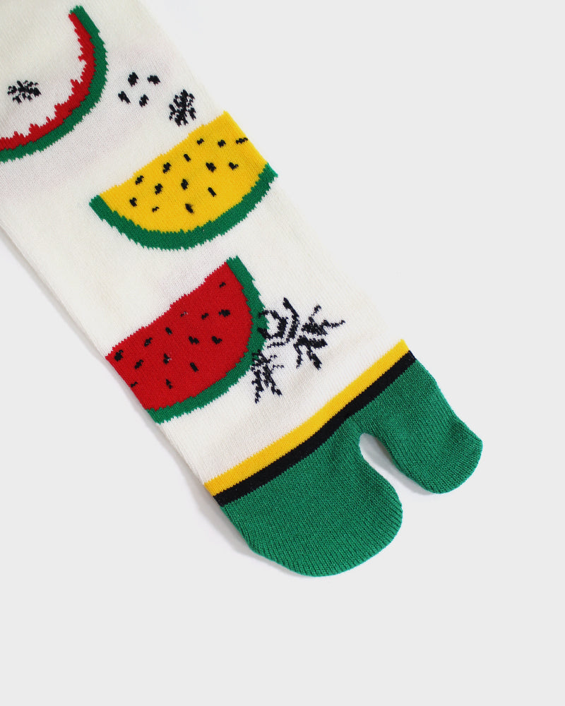 Tabi Socks, Red & Yellow Watermelon with Green Toe (M/L)