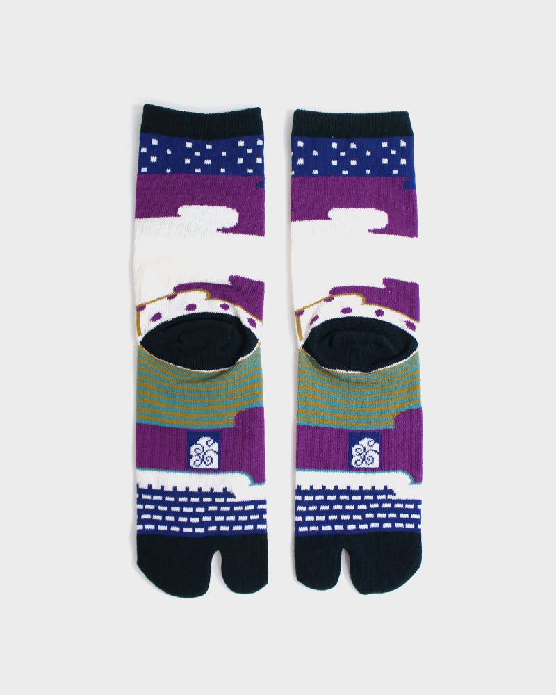 Tabi Socks, Purple & Green Abrstract Clouds (S/M)