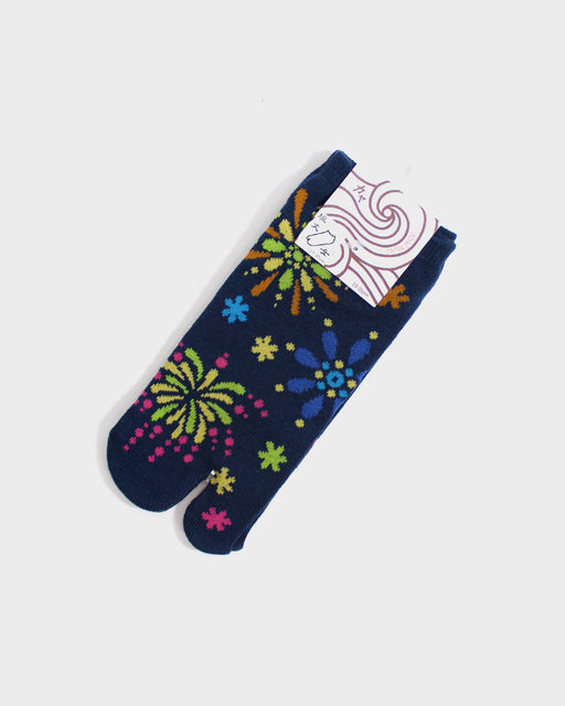 Tabi Ankle Socks, Navy & Multi Color Fireworks (S/M)