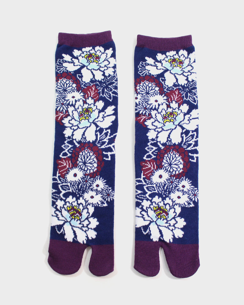 Tabi Socks, Navy and Maroon, Kiku (S/M)