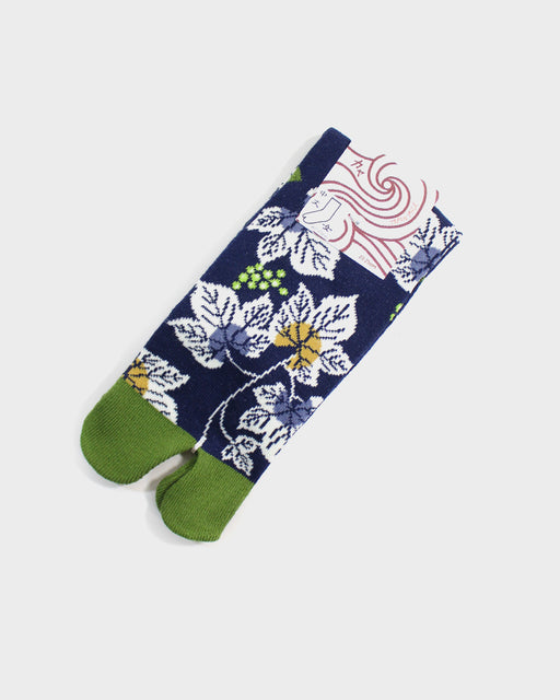 Tabi Socks, Navy and Green, Leaves (S/M)