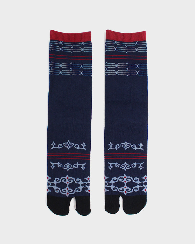Tabi Socks, Navy & Red Ainu (M/L)