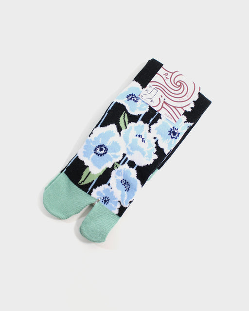 Tabi Socks, Black, Green, and Blue Flowers (S/M)