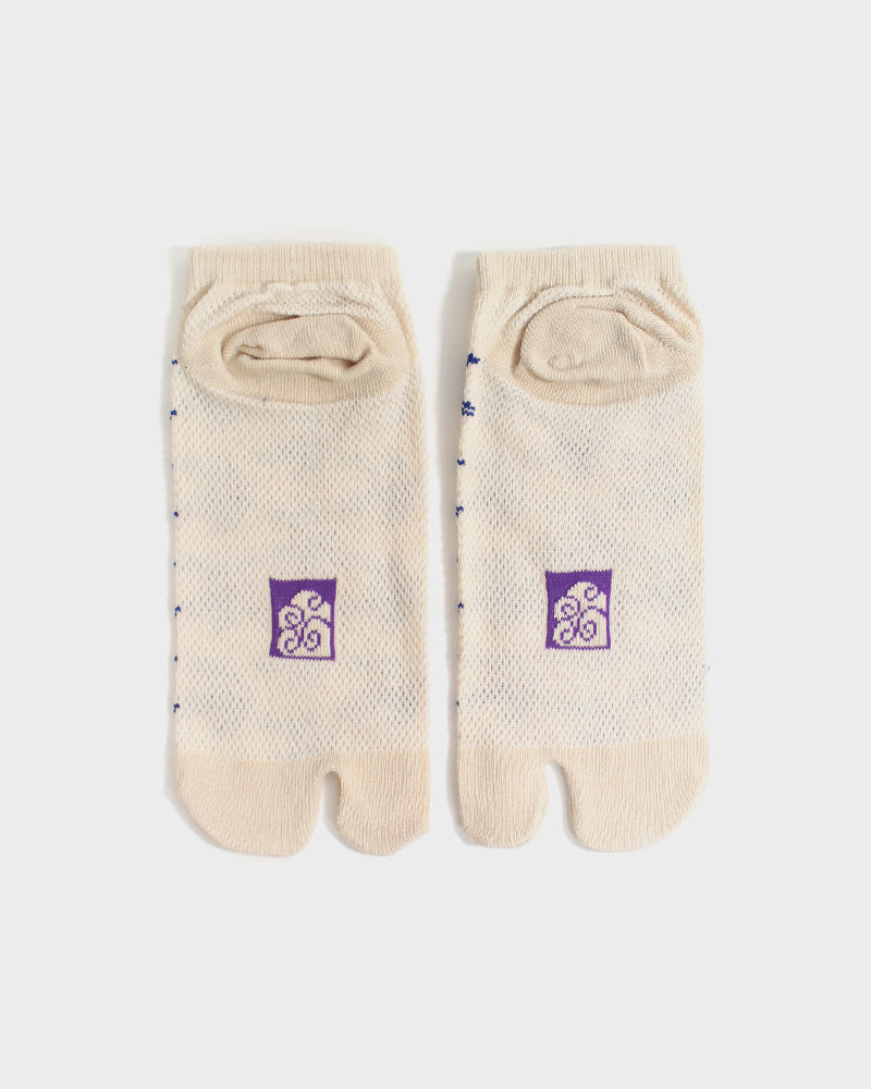 Tabi Ankle Socks, Cream & Blue Swallow (S/M)