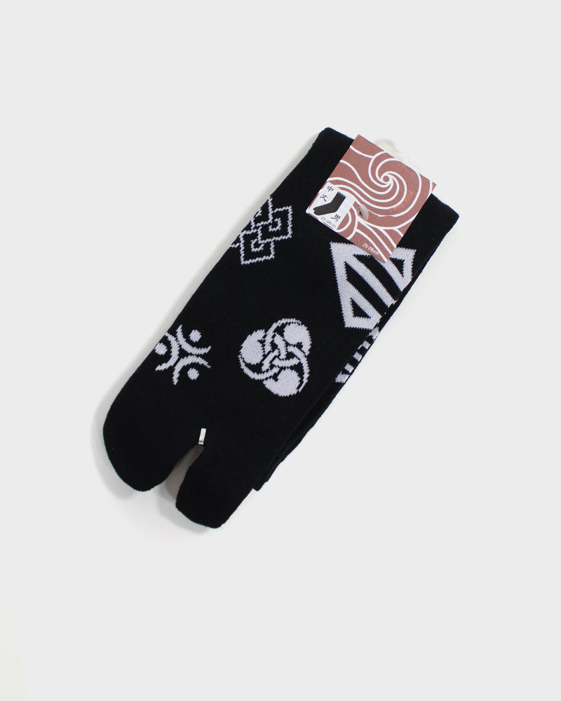 Tabi Socks, Black and White Kamon (M/L)