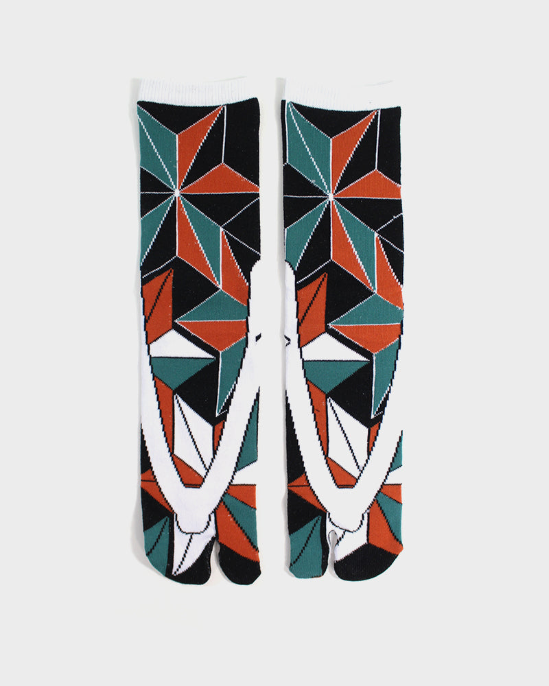 Tabi Socks, Black, Orange & Green Asanoha (M/L)