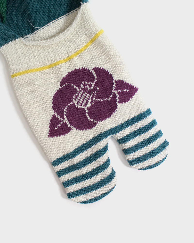 Kuru Bushi Tabi Socks, Cream & Turquoise with Purple Tsubaki (S/M)