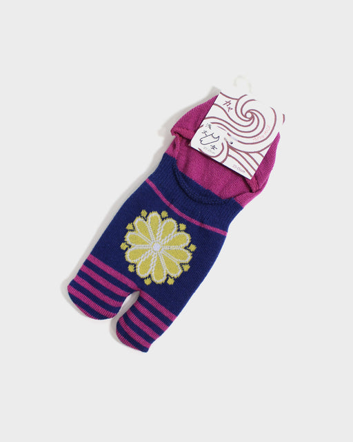 Kuru Bushi Tabi Socks, Violet & Magenta with Yellow Kiku (S/M)