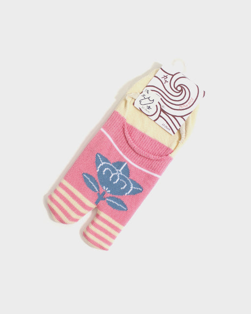 Kuru Bushi Tabi Socks, Pink & Cream with Cool Grey Tachibana (S/M)