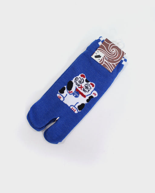 Tabi Ankle Socks, Bright Blue Maneki-Neko (M/L)