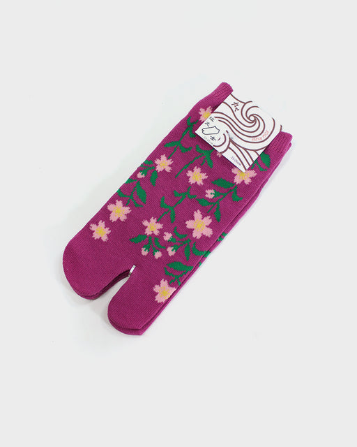Tabi Ankle Socks, Sakura, Pink, Green and Magenta (S/M)