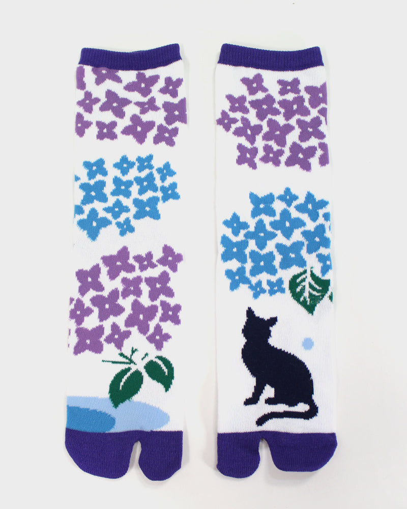 Tabi Socks, Hydrangea and Cat (S/M)