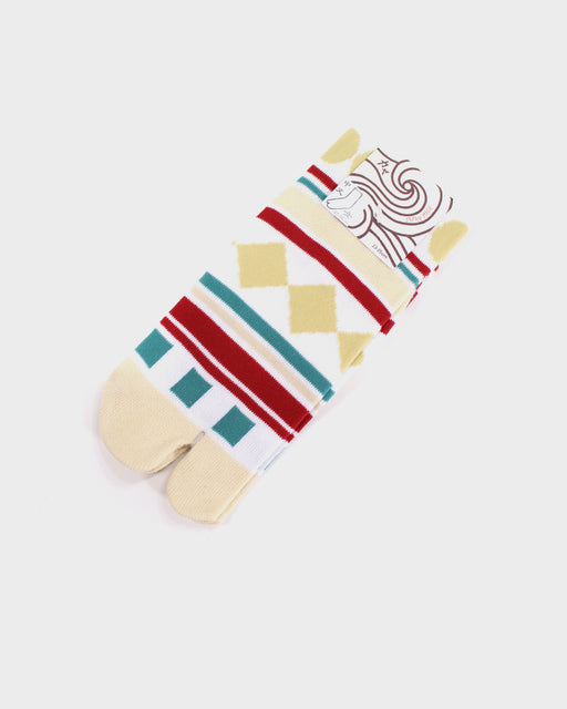 Tabi Socks, Red, Teal and Tan, Geometric Shapes (S/M)