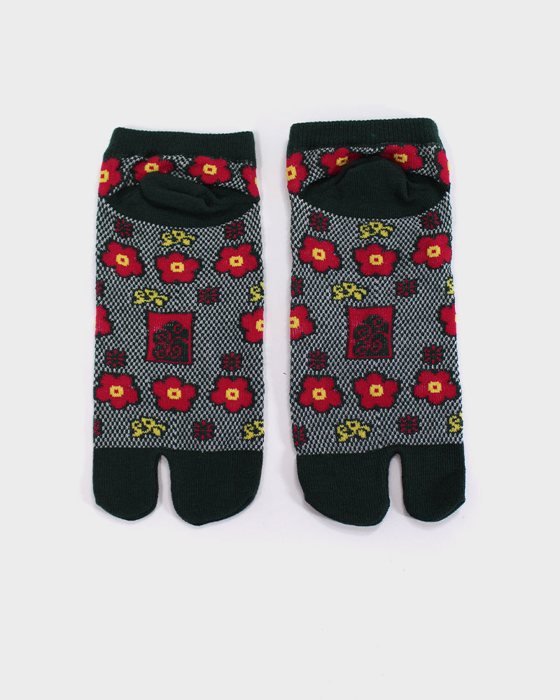 Tabi Ankle Socks, Green Red and Yellow Ume, 23-25 cm