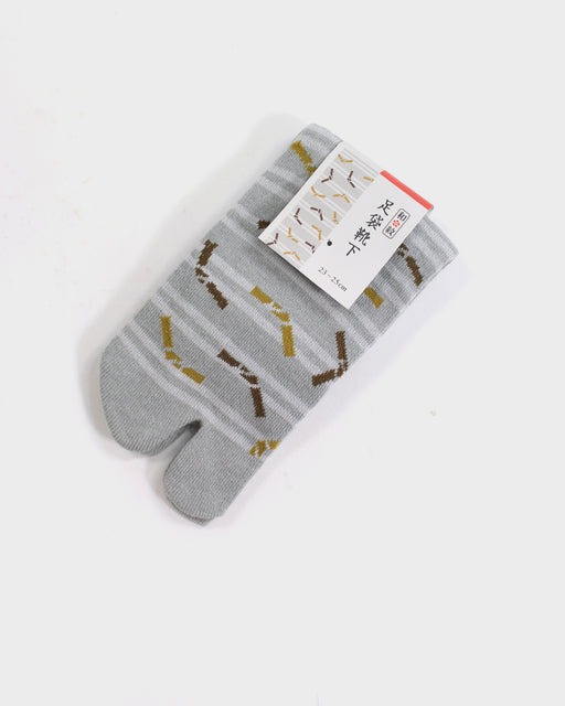 Tabi Ankle Socks, Tan and Grey, Omikuji (S/M)