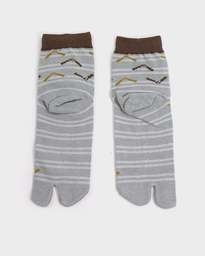 Tabi Ankle Socks, Tan and Grey, Omikuji