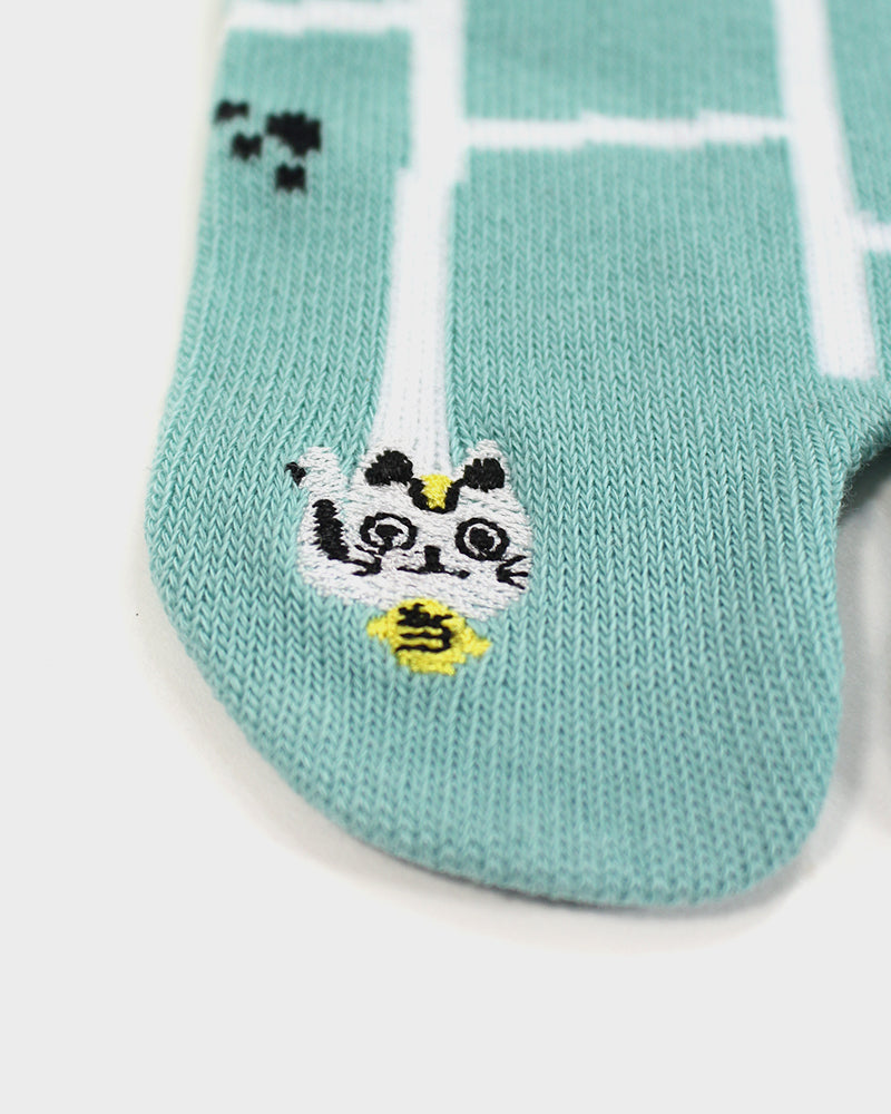 Tabi Socks, Aqua Amidakuji with Embroidered Toe (S/M)