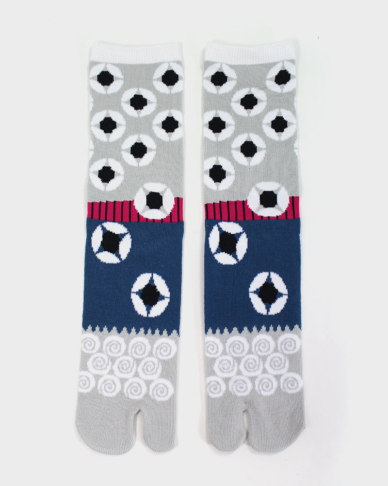 Tabi Socks, Geometric Magenta, Grey and Blue (S/M)