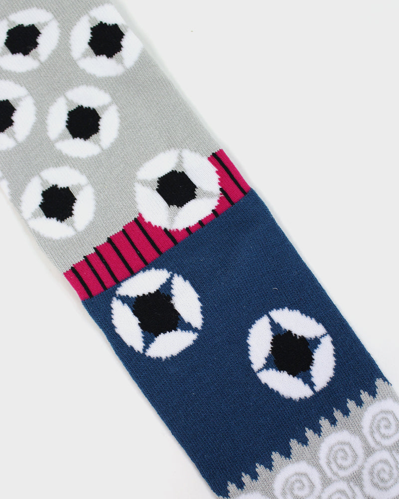 Tabi Socks, Geometric Magenta, Grey and Blue, 25-28 cm