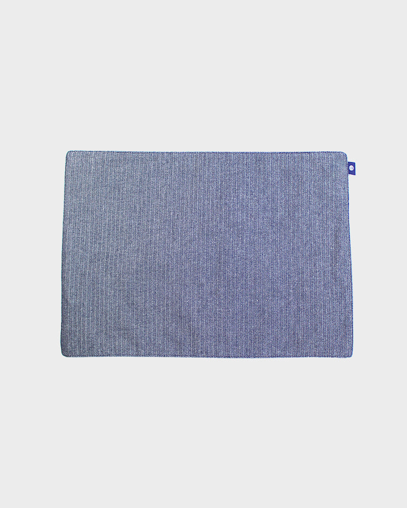 Table Mat, Kasuri-Ori Navy, White and Blue Crossweave
